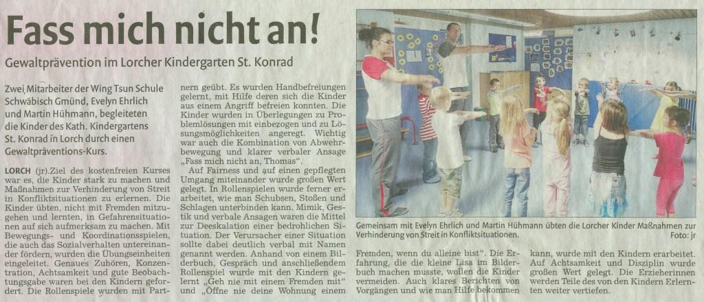 Kids-WingTsun im Kindergarten Lorch